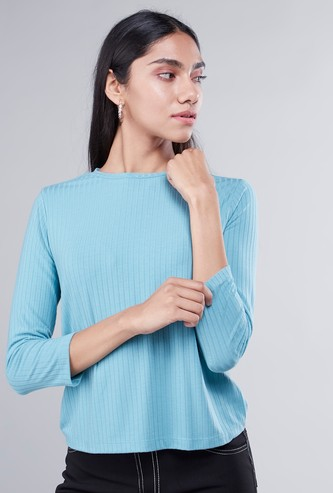 Textured T-shirt with Round Neck and 3/4 Sleeves