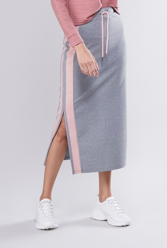 Taped A-line Midi Skirt with Drawstring and Side Slit Detail