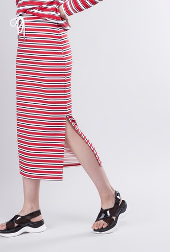 Striped A-line Midi Skirt with Drawstring and Side Slit Detail