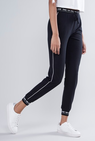 Full Length Mid Rise Jog Pants with Printed Elasticised Waistband
