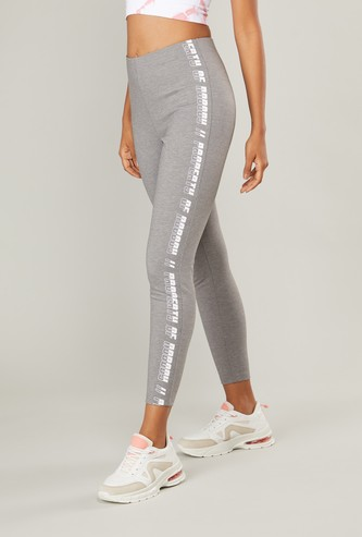Printed Cropped Mid-Rise Leggings with Elasticated Waistband