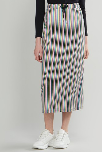 Striped Midi Skirt with Drawstring Closure