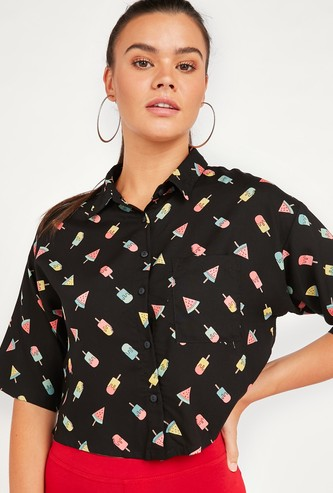All-Over Print Boxy Crop Shirt with Spread Collar and Short Sleeves