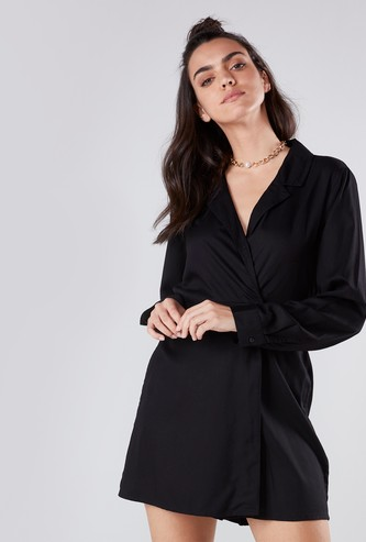 Notch Collar Wrap Playsuit with Long Sleeves