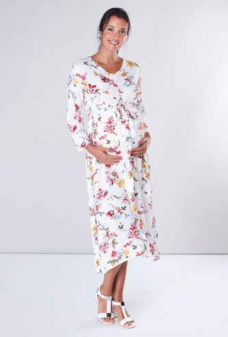 Floral Print Maternity A-line Midi Dress with Long Sleeves