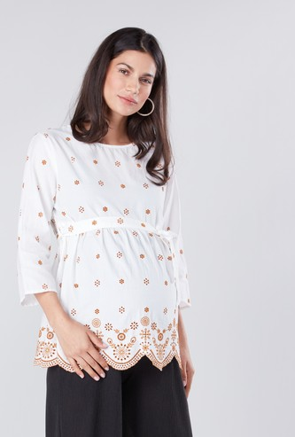 Maternity Embroidered Top with Round Neck and Tie Ups