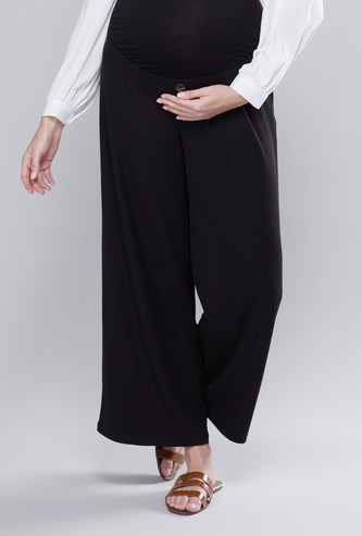 Maternity Textured Mid-Rise Palazzos