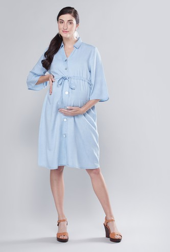 Maternity Textured Midi Shirt Dress with 3/4 Sleeves and Tie Ups