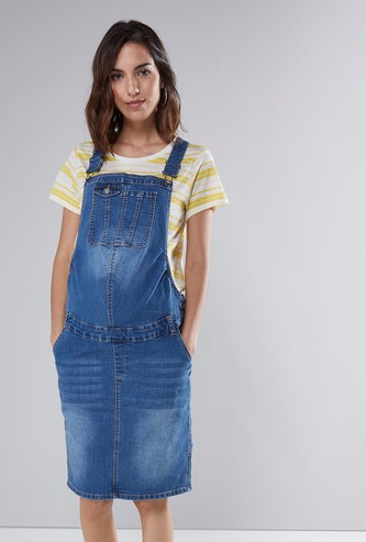 Maternity Textured Dungaree Dress