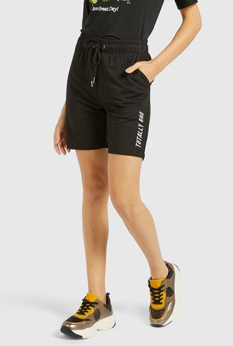 Embroidered Text Detail Mid-Rise Shorts with Drawstring Closure