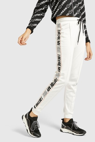 Solid Jog Pants with Printed Tape and Drawstring