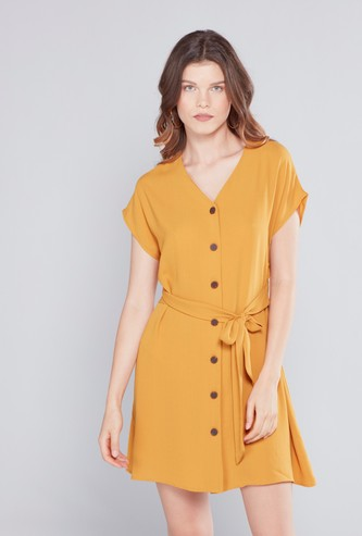 Solid Mini Shirt Dress with Extended Sleeves and Tie Ups