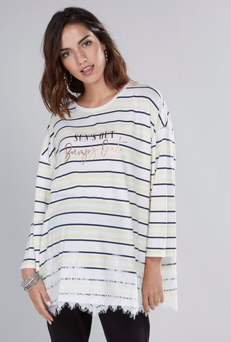Maternity Printed T-shirt with Lace Detail and Drop Shoulders