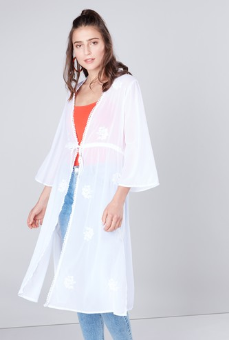 Embroidered Midi Shrug with Tie Ups and 3/4 Sleeves
