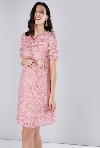 Maternity Lace Detail Midi Dress with Round Neck and Short Sleeves