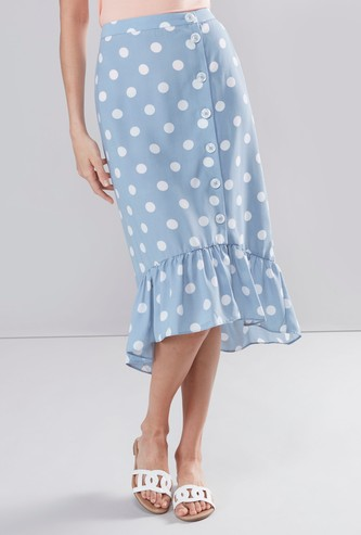 Polka Dots Printed Midi A-line Skirt with Button Detail