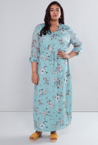 فستان طويل بأكمام طويلة وعقدة أمامية بطبعات زهرية