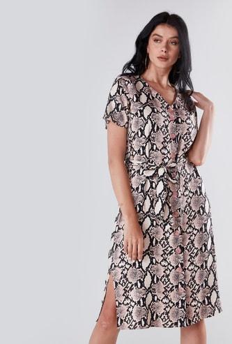 Printed Midi Dress with V-neck