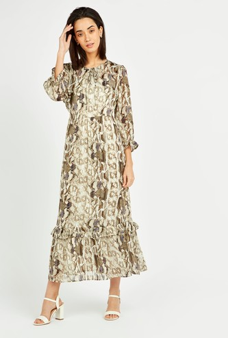Snake Print Round Neck Jacquard Dress with 3/4 Sleeves