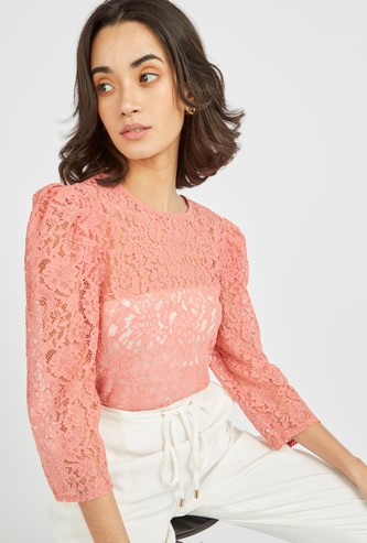 Lace Patterned Round Neck Top with Puff Sleeves