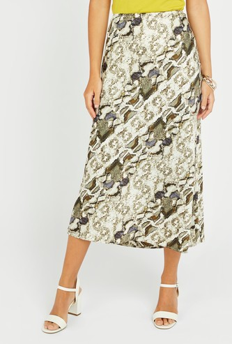 Animal Print Midi A-line Skirt with Elasticised Waistband