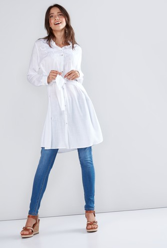 Embroidered Tunic with Long Sleeves and Complete Placket