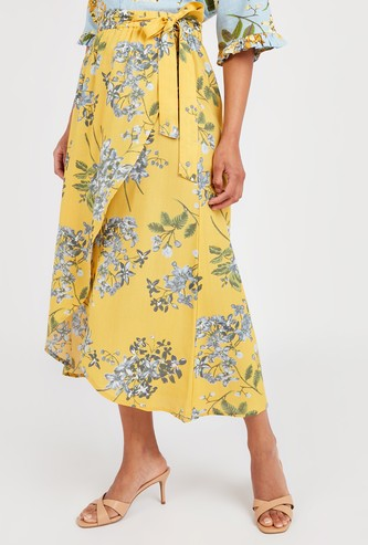 Floral Print Midi Wrap Skirt with Tie-Up