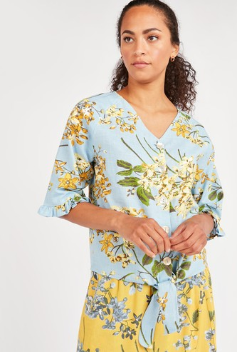 Floral Print V-neck Top with 3/4 Sleeves