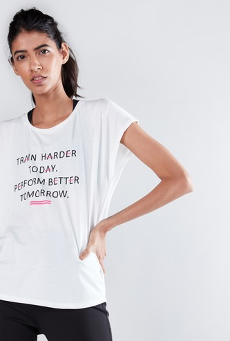 Slogan Printed Oversized T-Shirt with Round Neck