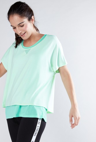 Double Layer Top with Round Neck and Short Sleeves