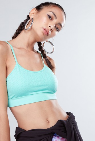 Seamless Sports Bra with Criss-Cross Strap Detail