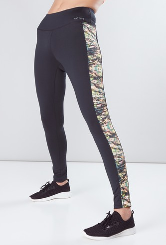 Printed Tape Detail Leggings with Elasticised Waistband