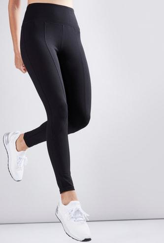 Stitched Panel High Waist Leggings
