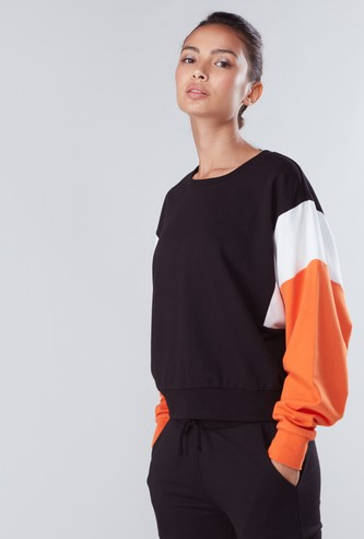 Panel Detail Oversized Sweatshirt with Round Neck and Long Sleeves