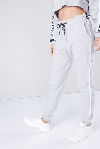 Tape Detail Joggers with Pocket Detail and Drawstring Closure
