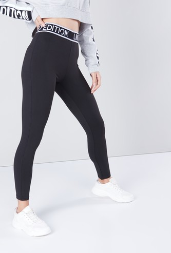 Slim Fit Cropped Leggings with Tape Detail Waistband