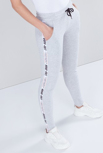 Slim Fit Plain Pants with Printed Tape and Pocket Detail