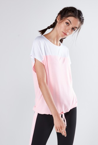 Printed T-shirt with Round Neck and Drop Shoulder Sleeves
