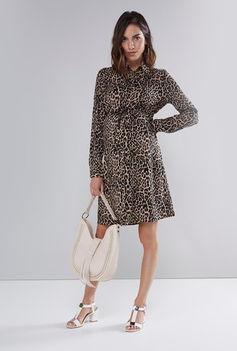 Maternity Animal Printed Midi Shirt Dress with Tie Ups