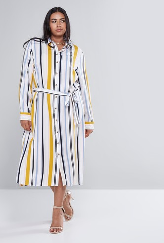 Striped Shirt Dress with Long Sleeves and Tie Up Belt