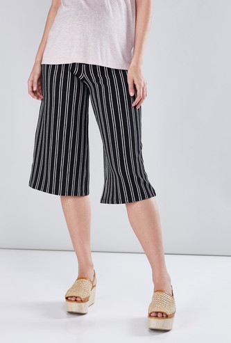 Maternity Striped Mid-Waist Culottes with Broad Elasticised Waistband