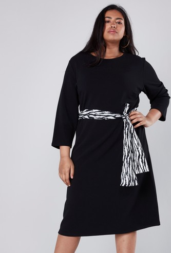 Textured Midi Dress with Printed Tie Up Belt
