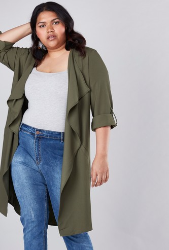 Open Front Waterfall Jacket with Long Sleeves