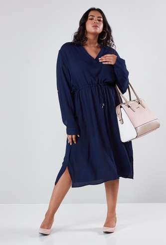 V-neck Midi Dress with Long Sleeves and Front-Knot Detail