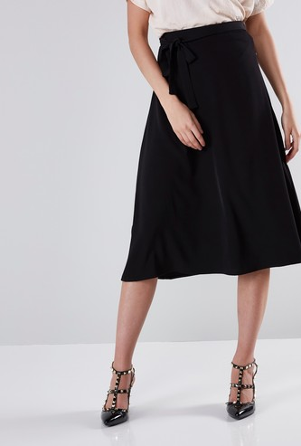 A-Line Midi Skirt with Elasticised Waistband