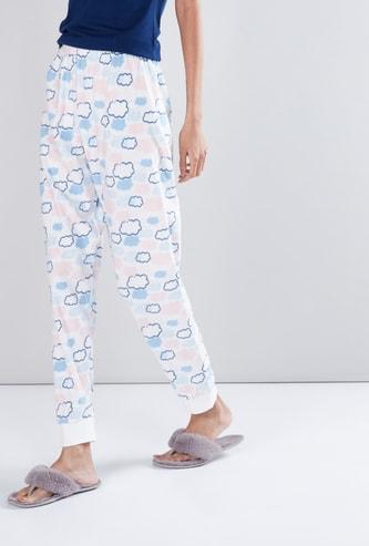 Printed Jog Pants with Elasticised Waistband