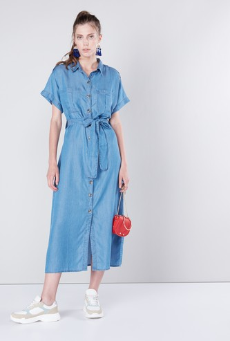 Solid Midi Shirt Dress with Tie Ups