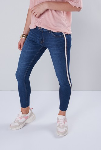 Skinny Fit Jeans with Lurex Tape Detail