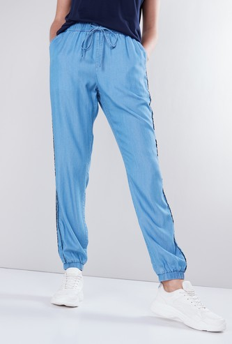 Denim Full Length Harem Pants with Piping Detail and Drawstring