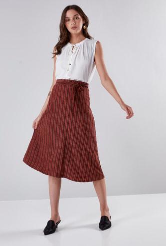 Striped A-Line Midi Skirt with Tie Ups
